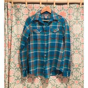 WRANGLER blue Western flannel plaid shirt top
